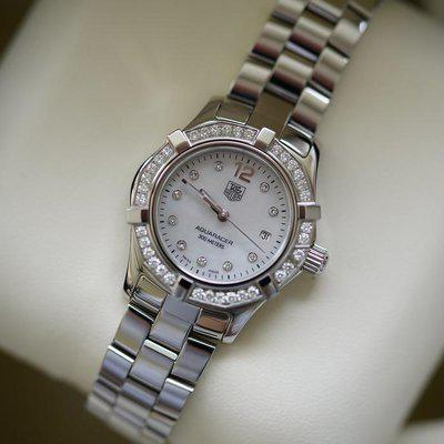 FS:Ladies Tag Heuer Aqua Racer with factory diamond dial and bezel.