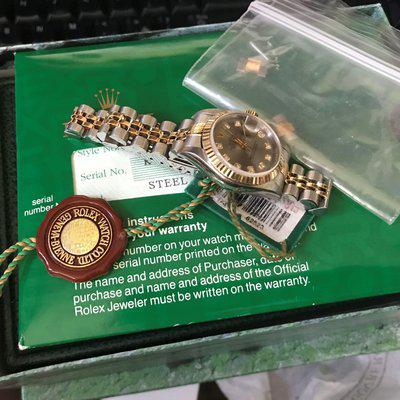 FS: ROLEX ladies 18K Gold/Steel Slate diamond Datejust 26MM