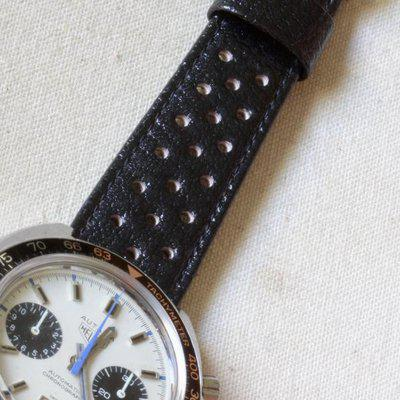 Heuer Corfam small holes, big holes, sizes 20mm 21mm 22mm