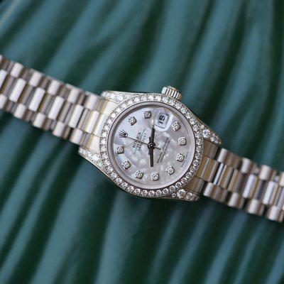FS:Rolex Ladies President 179159 White Gold MOP diamond dial, be
