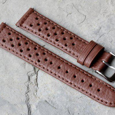Tan, brown or black textured rally bands+Heuer buckle option