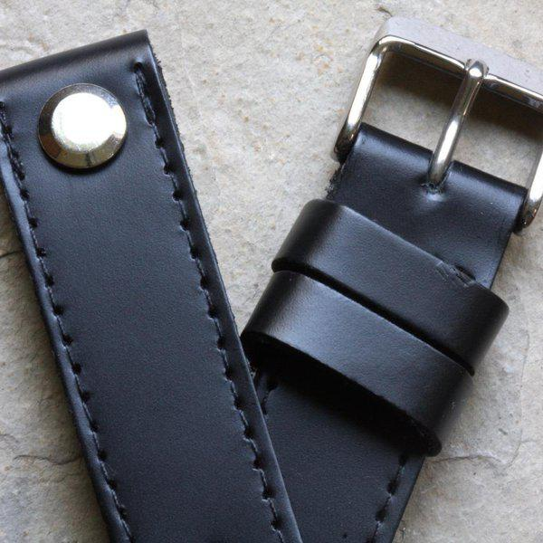 Open-ended thick leather British pilot's bands 18mm to 24mm 9